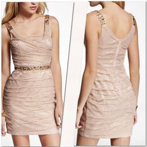 Express Gold Lace Dress with Rhinestones ⭐️
